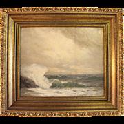 """""""A Wild Sea"""", 19th century oil on board seascape"""
