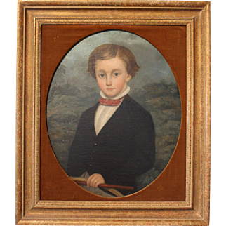 """""""Boy with a Hoop and Stick"""" 19th Century Portrait"""