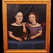 """Mid 19th Century American Folk Art Portrait, """"The Bakemeier Girls"""""""
