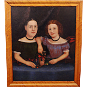 "Mid 19th Century American Folk Art Portrait, ""The Bakemeier Girls"""