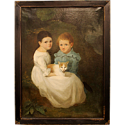Hudson Rivery Valley primitive portrait of Children with Cat