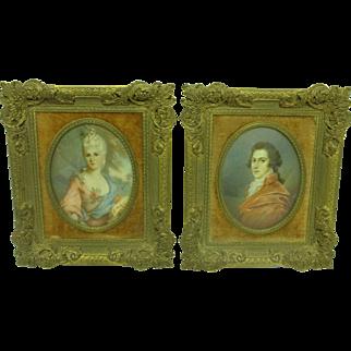 Pair of Antique Oval Miniature Portraits, signed Dupré & Fuger