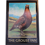 "Vintage English Pub Sign for ""The Grouse Inn"""
