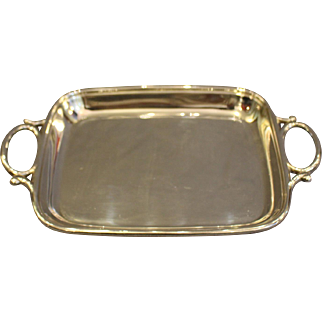 Oval Handled Sterling Card Tray