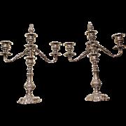 Pair of Art Nouveau 3-light candelabras