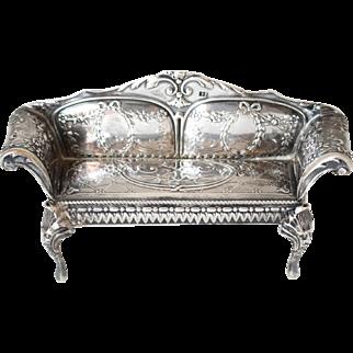 Silver Sofa Doll House Piece