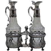 Sterling Silver and Cut Glass Cruet Stand