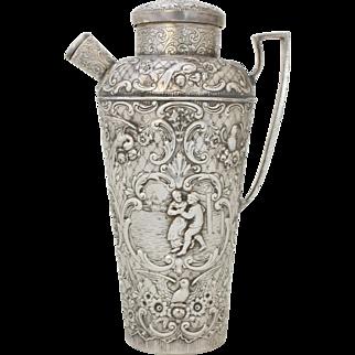 Repoussé Silver Cocktail Shaker, c.1920