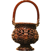17th Century Italian Brown Glazed Redware Basket