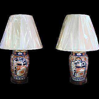 Pair of Imari Vases, c. 1860, Lamped