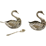Sterling Swan Salt Cellars