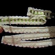 Two Fancy Vintage Cotton Laces & Ribbon