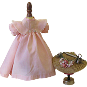 Lovely Pink Cotton Doll Dress & Hat