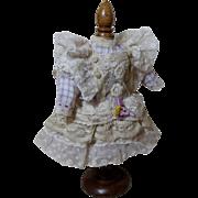 Frilly Dress For Antique Dolls!  Lavender Check