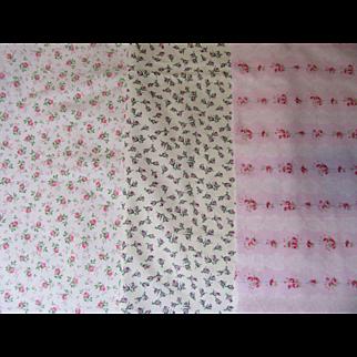 Three Beautiful Vintage Cotton Doll Fabrics!
