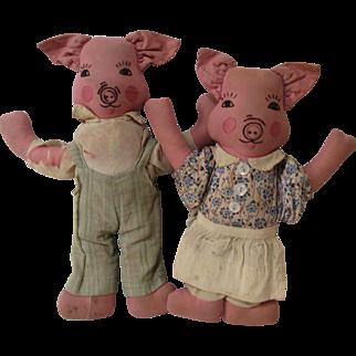 Darling 1930's Folk Art Pig Doll Couple