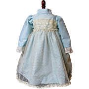 Pretty Blue Doll Dress With Antique Lace