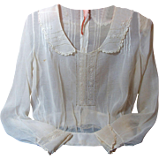 Antique Titanic Era Blouse-Gossamer Embroidery
