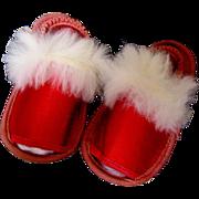 Elegant Red Satin Doll Slippers-1949