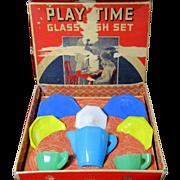 Akro Agate Toy Tea Set, Boxed 1930's