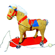 Colorful Vintage West German Horse Pull Toy