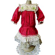 Pretty Little Silk Doll Dress-1890, Berries and Cream!