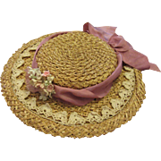 Antique Straw Doll Hat-Summer Hat