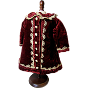 Rich Wine Velvet Doll Coat Dress