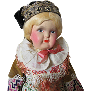 Adorable Antique Folk Doll-Painted Bisque