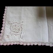 Vintage Linen Table Cloth-Lovely Lace Trim