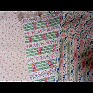 Three Pretty Cotton Fabrics-Florals