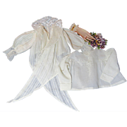 Two Antique Doll Blouses-Snowy, Lacy