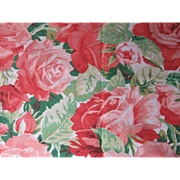 Roses! Roses!  Vintage Cotton Cottage Fabric-Huge Roses