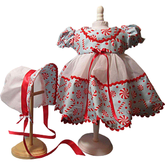 Dy Dee Candy Cane Christmas Dress & Bonnet