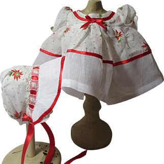 Wonderful Christmas Dress & Bonnet for Dy Dee Baby