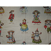 Rare Vintage Doll Fabric-Dolls Around The World
