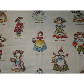 Rare Vintage Doll Fabric-Dolls Around The World
