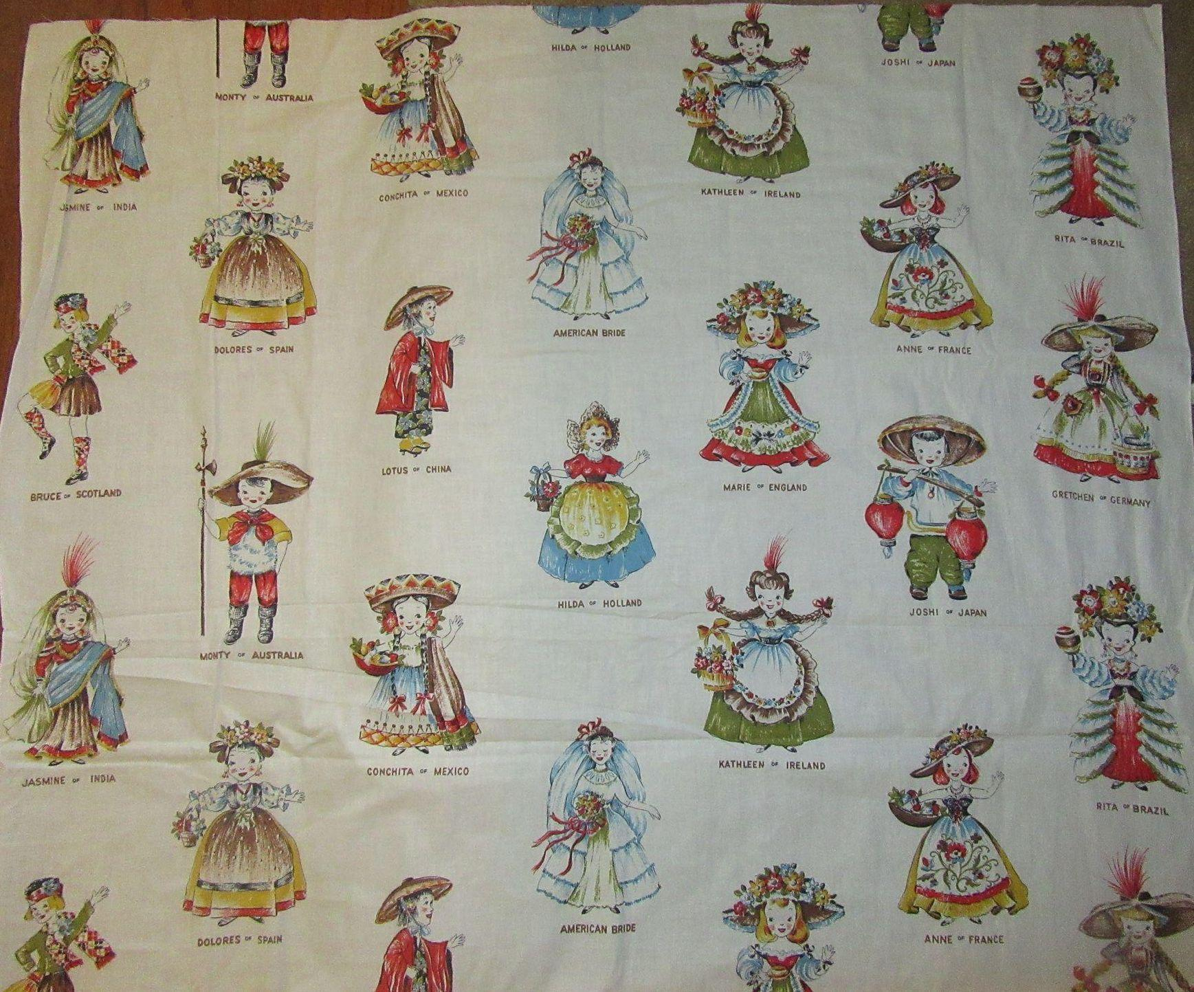 Rare vintage doll fabric dolls around the world from for Fabric world