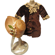 Stylish Antique Doll Coat & Straw Bonnet