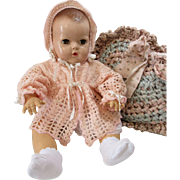Lovely Lacy Crochet Sweater & Bonnet For Baby Dolls
