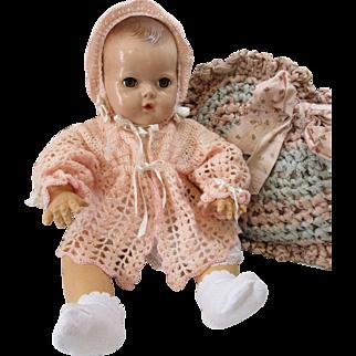 Lovely Lacy Crochet Sweater & Bonnet For Baby Dolls