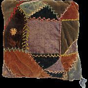 Quaint Country Antique Crazy Quilt Pillow