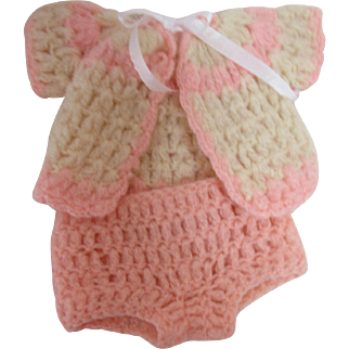 """Wool Crochet Doll Sweater & Panties for 11"""" Doll"""