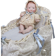"""Winnie"" Darlin' All Bisque By Lo Baby Doll In Cradle!"