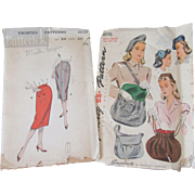 Two Stylish Vintage Misses Patterns-1940's-50's