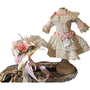 Lacy French Victorian Doll Dress & Hat