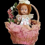 Festive Old Crepe Paper  Easter Basket & Dolly