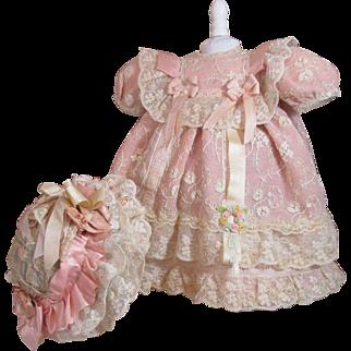 Lavish, Luxurious Tambour Lace Doll Dress & Bonnet