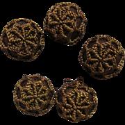 Rare Antique Silk Floss Buttons-1875