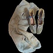 Antique Blue Silk Boudoir Doll Shoes & Stockings